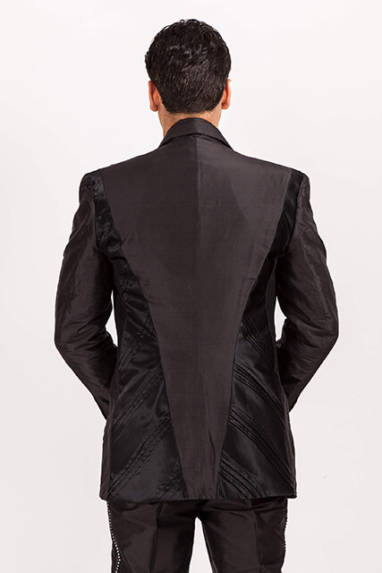Deco/711  Black Silk Dupion/Satin  suit..pintucked panels..back view… custom made   available in 100 colours
