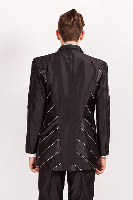 Diamonte/705..Black Silk Dupion suit…back view..diagonal Satin/Diamonte panels..custom made available in 100 colours