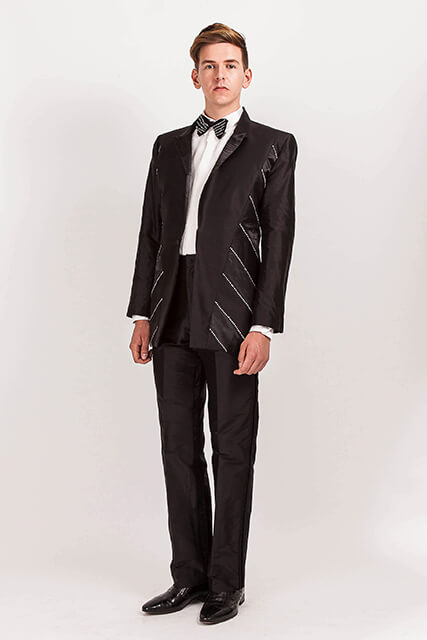 705/Diamonte… Black Silk Dupion suit/diagonal diamonte panels… available in 100 colours… £945… hire for £75