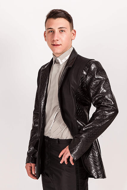 Montana/714….Black Silk Dupion/Embossed Leather Tuxedo
