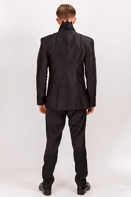 Black Silk Dupion suit/ZigZag collar..back view