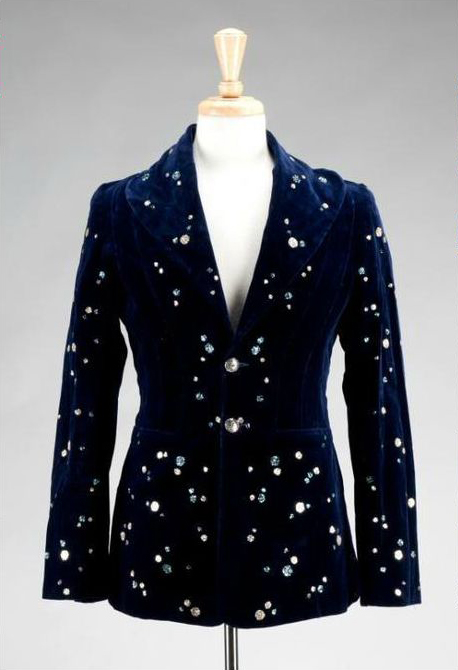 Malcolm Hall embellished midnight blue velvet jacket made for Tony Curtis for a film role. Sold at the 'Property from the Estate of Tony Curtis' auction in LA, September 17, 2011.