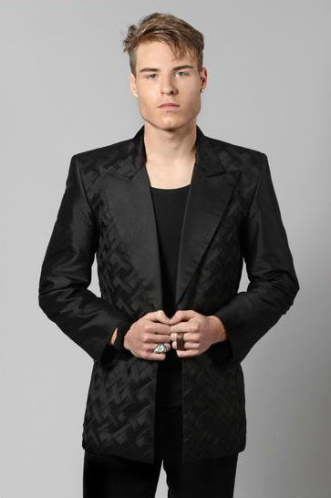 DUKE/700 Black Silk Tuxedo..hand pleated basket weave panels custom made available in 100 colours