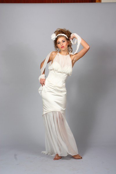 Silk Duchess Satin Wedding Gown/Silk Chiffon skirt