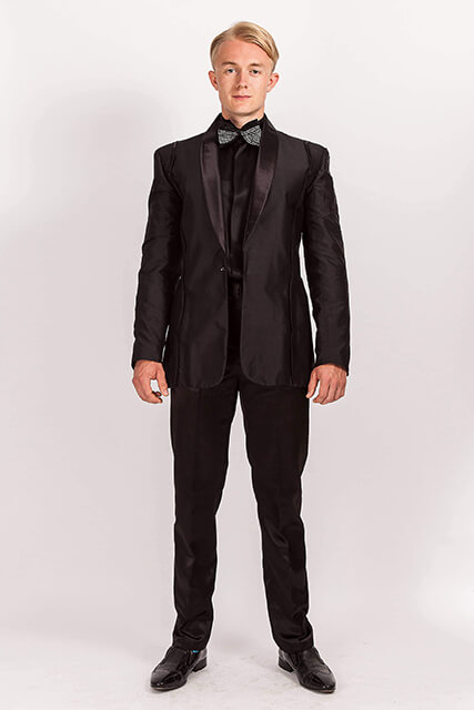 Custom Made Black Silk Dupion Suit With Scalloped Seam Detail.