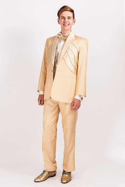 ELVIS Style 703..Gold Silk Jacquard suit/Satin Deco panels