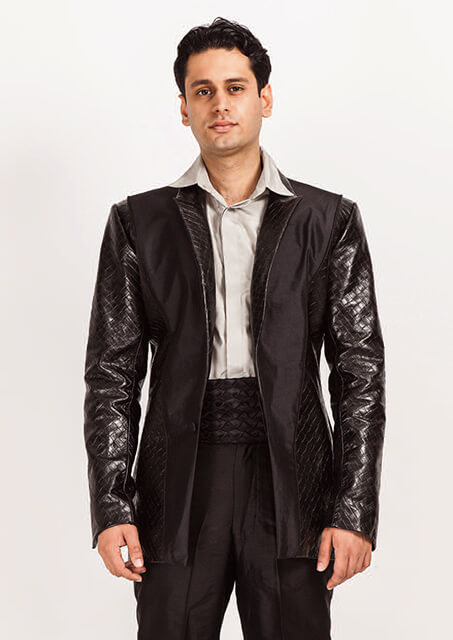 Montana/714..Black Silk Dupion/Embossed Leather suit