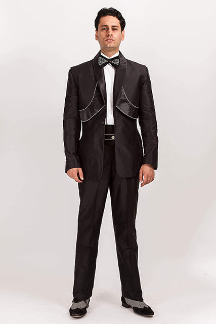 Custom Made Black Silk Dupion Suit with Diamonte Satin Deco Panels