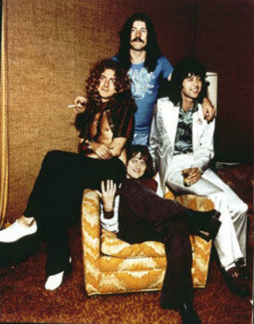 Led Zeppelin at the Riot House, Hollywood: Jimmy Page in white Malcolm Hall suit