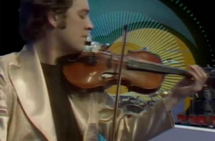 King Crimson, progressive, avant-garde, psychedelic rock band: David Cross in gold Malcolm Hall suit