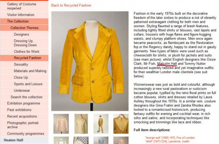 Article about Manchester Art Gallery's 'Recycled Fashiion' exhibition featuring Malcolm Hall and his contemporaries.