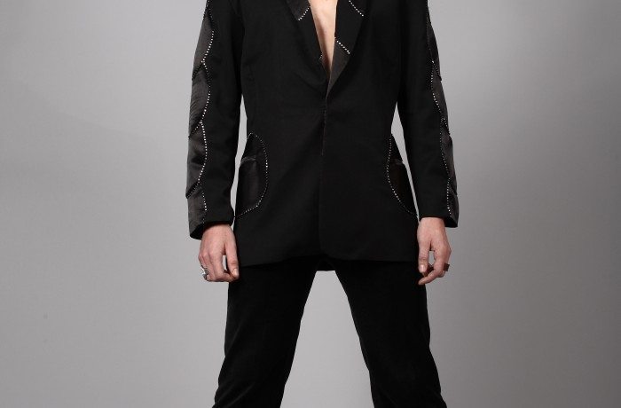 Rio/Wool Gaberdine suit…circular satin panels…highlighted with diamonte on sleeves..available in 50 colours…£795…hire…£70